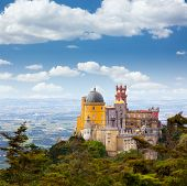 Aerial view of  Palace da Pena / Sintra, Lisbon / Portugal / European travel