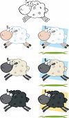 Sheep Cartoon Characters Jumping  Collection Set