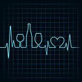 Heartbeat make wine glasses,bottle and  heart symbol