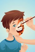 picture of cute tiger  - A vector illustration of cute boy having his face painted as a tiger - JPG