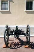 image of cannon-ball  - Old cannon at the Palace of Monaco in Monaco - JPG