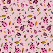 Abstract Retro Pink Background With Ladybirds And Leaves