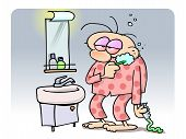 Tired man brushing his teeth