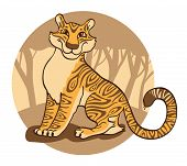 foto of tigress  - Cheerful  tigress on a brown  background - JPG