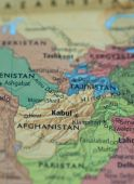 stock photo of mesopotamia  - Map of Afghanistan Pakistan area with selective focus on Kabul - JPG