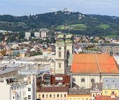 Linz Cityscape With Old Cathedral And Poestlingberg, Austria