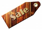 image of year end sale  - Wooden Sale Tag with Golden Metal Letters with the text  - JPG