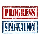 foto of stagnation  - Set of grunge rubber stamps with text Progres and Stagnation - JPG