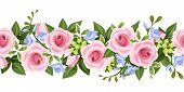 Horizontal seamless background with roses and freesia. Vector illustration.