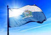 San Marino flag waving on the wind