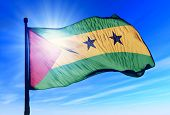 Sao Tome and Principe flag waving on the wind