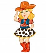 pic of cowgirl  - Cowgirl child with western hat and boots Vector illustration for party birthday - JPG