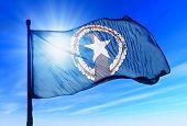 Northern Mariana Islands flag waving on the wind
