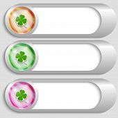 Set Of Three Silver Buttons With Cloverleaf