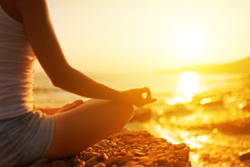 picture of sea life  - hand of a woman meditating in a yoga pose on the beach - JPG
