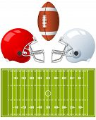 pic of football field  - Two sport Helmets and field for American Football - JPG