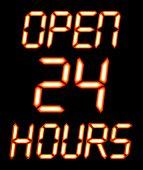 A Digital Open 24 Hours Sign With Orange Glow