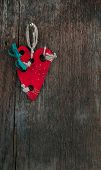 Red wooden heart