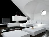 Modern design loft living room interior with white and black decor with a modern suite and cabinets