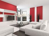 Contemporary living room interior with white decor and lounge suite with colorful vibrant red accent