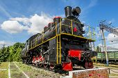 picture of locomotive  - Old steam locomotive on the pedestal in the Yelets locomotive Depot - JPG