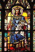 PARIS, FRANCE - NOV 11, 2012: Saint Louis with the Crown of Thorns, stained glass from Church of St-
