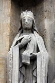 PARIS, FRANCE - NOV 11, 2012: Saint Clotilde statue, Church of St-Germain-l'Auxerrois founded in the