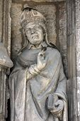 PARIS, FRANCE - NOV 11, 2012: Saint Alode statue, Church of St-Germain-l'Auxerrois founded in the 7t