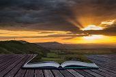 Stunning Vibrant Summer Sunset Over Escarpemt Landscape Creative Concept