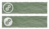 Set Of Two Banners With Crumpled Paper And Cogwheels