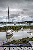 Landscape Of Moody Evening Sky Over Low Tide Marine Creative Concept