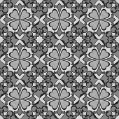 Seamless abstract flower monochrome vector wallpaper.