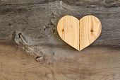 foto of elm  - Love Valentines wooden heart from recycled old palette on old grey Elm background copy space - JPG