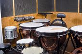 pic of timpani  - Several kettle drums shot in a recording stucio - JPG