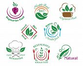 Assorted restaurant and vegetarian food symbols