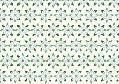 Abstract Green Bloom Pattern In Boomerang Shape On Pastel Color