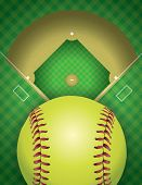 picture of softball  - An aerial view of a softball field and ball - JPG