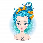 Vector Illustration Of Pisces Zodiac Sign.