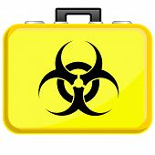 stock photo of biohazard symbol  - Vector illustration of Bag with biohazard symbol - JPG