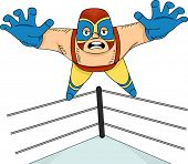 Illustration of a Mexican Wrestler Diving from the Ropes