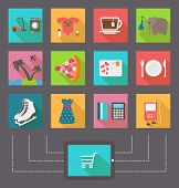 Internet shopping, e-commerce activity. Vector icons