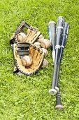 baseball equipment on the grass