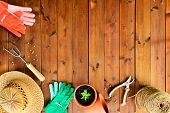 image of cultivation  - Copyspace frame with gardening tools and objects on old wooden background - JPG