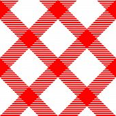 Checkered gingham fabric seamless pattern in red and white, vector
