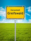An image of the city sign of Greifswald