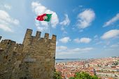 panoramic view of lisbon old town from sao jorge castle, in Portugal, Europe
