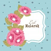 Beautiful pink flowers decorated greeting card design for the occasion of Muslim community festival