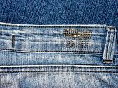GOMEL, BELARUS - MAY 3 2014: Close up of the Stenmen denim jeans. Stenmen is a trademark of Turkish