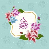Stylish colourful flowers decorated sticker, tag or label design with arabic islamic calligraphy of text Eid Mubarak on green background.