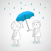Cute little kids with blue umbrella and blue water drops falling on grey background.